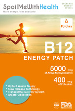 B12 Patches (Methylcobalamin 5000 mcg) and folic acid (0.4 mg). 8 Week Supply.