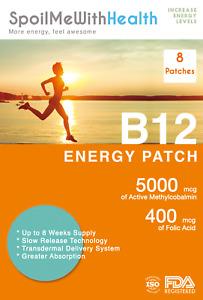 B12 Patches (Methylcobalamin 5000 mcg) and folic acid (0.4 mg). 8 Week Supply.