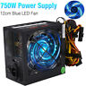 750W 750 WATT Gaming Quiet Blue LED Fan PSU SATA ATX Power Supply PCIe New