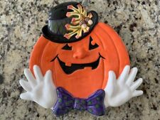 Fall Fitz & Floyd Halloween Derby Pumpkins Canape' Plate Beautiful Detail Iob