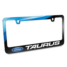 Ford Taurus Blue Wave Graphic Black Metal License Plate Frame, Made in USA