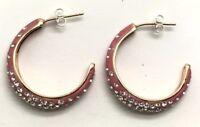 Sterling Silver Rose Gold Tone Floating CZ Cluster - Enamel Half Hoop Earrings