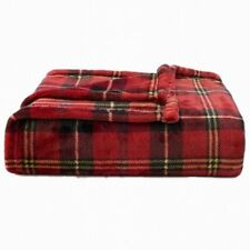 "NEW The Big One Super Soft Plush Throw Fleece Blanket Plaid Red Green 60"" x 72"""