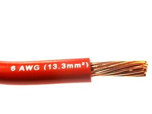 MTW 6 AWG GAUGE RED STRANDED COPPER SGT PRIMARY WIRE 10' FT