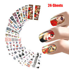 24PCS Halloween Theme Skull Flowers Nail Art Water Transfer Stickers Beauty Nail