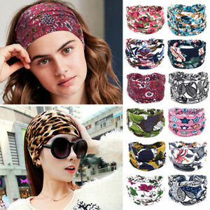 Women Wide Cotton Stretch Headband Turban Sports Yoga Knotted Hairband Headwrap