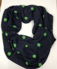 J. Crew Infinity Scarf Navy Green Polka Dot Thick Wool Blend