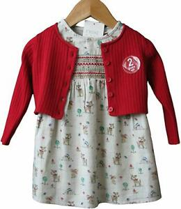 Next Girls Dress Woodland Print  Red Cardigan Outfit 0/3 Months