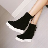 Womens Faux Suede High Wedge Heels Pull On Ankle Boots Platform Shoes
