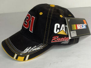 NASCAR CAT RACING #31 Jeff Burton Cap Hat NWT Black Yellow Hook And Loop Strap