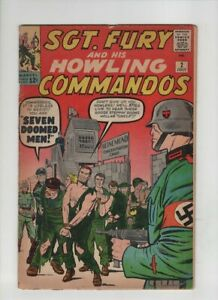 "SGT FURY #2 Good, Jack Kirby & Dick Ayers cover & art, ""Seven Doomed Men"" 1963"