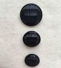 (3) Vintage Black Buttons, Cross Hatch Design, Shank, Plastic, 3 Sizes