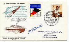 1969 50 Jahre Luftverkehr uber Bremen German Space Cover SIGNED