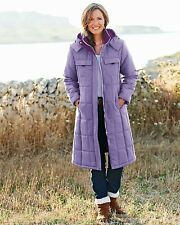 Ladies cotton traders long padded lilac coat warm windproof Size 10