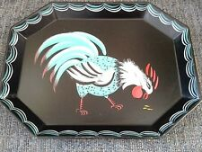 Rare Collectible Blue White Hand Painted Rooster Vintage Mid Century Tole Tray