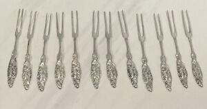 Vintage Sterling Silver Pickle Or Olive Fork Set X 12