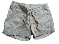 The North Face Cotton Linen Tan Microstripe Shorts Womens 4 NWT