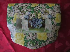 Antique Victorian Celluloid Jewelry Box Cherubs, Lilacs, Roses by Brundage? Rare