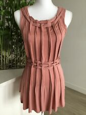 Womens ANTHROPOLOGIE ONE SEPTEMBER Dusty Mauve Sleeveless Basket Weave Top XS