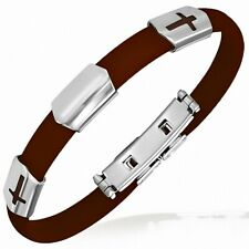 Man Bracelet Rubber Brown Plate Latin Cross