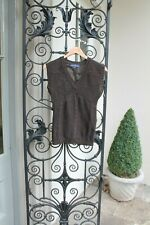 Vintage The Sweater Shop Brown Aran Cable Knit TANK TOP,Pullover Jumper Size XS