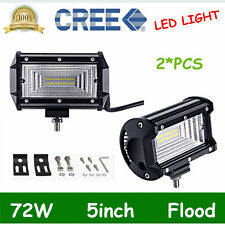 2X 5Inch 72W LED CREE Work Light Bar Flood Offroad SUV Truck 12V24V 7D Opticals