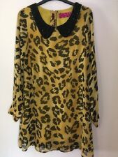 Ladies Mustard And Black Long Sleeved Shirt Blouse Top Size 8 By Liquorish