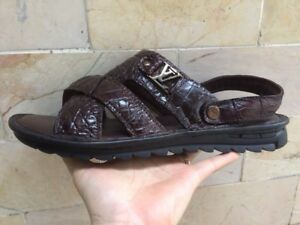 Authentic-Alligator-Crocodile-Skin-Brown Leather-Sandal VSSD03