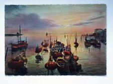 CHIOGGIA tramonto sulla laguna barche pesca Venezia vecchia cartolina