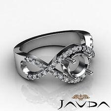 Diamond Engagement Ring Halo Pave Setting 18k White Gold Round Semi Mount 0.5 ct
