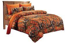 7 PC ORANGE CAMO SET! CAL KING BEDDING COMFORTER SHEET BED CAMOUFLAGE MICROFIBER