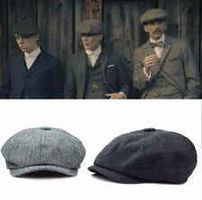 Men Peaky Blinders Herringbone Tweed Newsboy Baker Boy Flat Cap Gatsby Hat