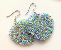 Beaded Silver Heart Seed Bead Earrings Spring Bling