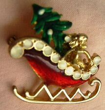 Vintage Brooch Green & Red Enamel Christmas Tree & Angel on a Sledge, Gold Tone