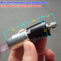 Mini 22mm 2-Phase 4-Wire Precision Planetary Servo Stepper Motor metal gear box