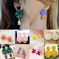 Fashion Bohemian Women Painting Big Flowers Ear Stud Earrings Charm Jewelry