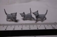 1:12th Scale Three Grey Kittens Doll House Miniature. Cats Pets Animals