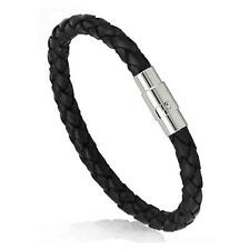 BLACK FAUX LEATHER BRACELET w MAGNETIC METAL CLASP Braided Surfer Cord Men Women
