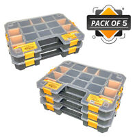 WrightFits Essential Tool Organiser Box - Stackable Storage Case 400 - Pack of 5