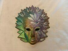 Green, Purple, White & Gold Ceramic Female Mask Wall Hanging Mardi Gras Style
