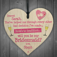 Personalised Bridesmaid Invitation Funny Wedding Hanging Plaque Friend Gift Sign