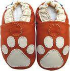 carozoo paw orange 12-18m soft sole leather baby shoes