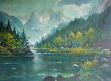 ARTHUR GEISSLER (1887-1963) Alpen-Ölgemälde 1943:  DACHSTEIN MIT GOSAUSEE