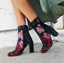 Jeffrey Campbell black red floral brocase heeled stratford boots sz 7