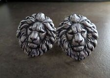 Handmade Oxidized Silver Lion Cuff Links