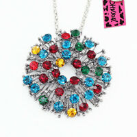 Colorful Crystal Dandelion Flower Pendant Betsey Johnson Necklace/Brooch Pin