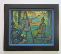 MYSTERY ARTIST SIGNED EXPRESSIONIST 1940'S  ABSTRACT ARTIST STUDIO PORTRAIT VNTG