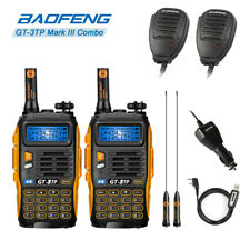 2x BAOFENG GT-3TP MarkIII 8W V/UHF Ham Two-way Radio +  Communicate Mic + Cable