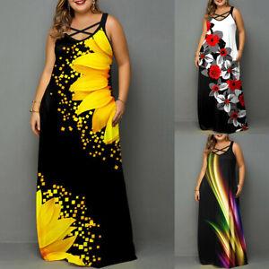 Plus Size Womens Sleeveless Maxi Dress Ladies Floral Print Evening Party Dresses