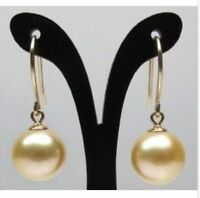 16mm natural  south sea gold plating shell pearl earrings gorgeous earbob